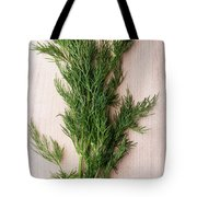 Fresh Green Dill On Wooden Plank Tote Bag