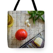 Fresh Italian Cooking Ingredients On Tile Tote Bag