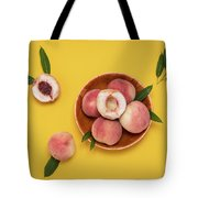 Fresh Juicy Peaches And Green Leaves Tote Bag