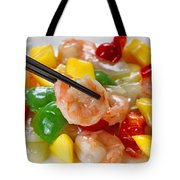 Fresh Shrimp And Peppers On White Serving Plate Ready To Eat Tote Bag