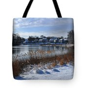 Fresh Snow Along The Creek Tote Bag
