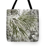 Fresh Snow Covers Needles On A Pine Tote Bag