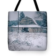 Fresh Snow Sits On The Ground Around An Old Barn Tote Bag