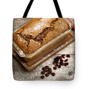 Freshly Baked Zucchini Bread On Rustic Wooden Boards Tote Bag