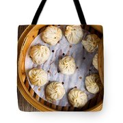 Freshly Cooked Dumplings Inside Of Bamboo Steamer Ready To Eat  Tote Bag