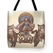 Freya And Her Cat Chariot-garbed Version Tote Bag