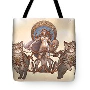 Freya And Her Cat Chariot-nude Version Tote Bag