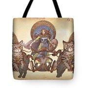 Freya Driving Her Cat Chariot - Triptic Garbed Version Tote Bag