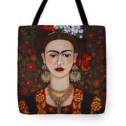 Frida Kahlo With Butterflies Tote Bag