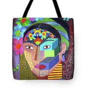 Frida Whit Floers Tote Bag
