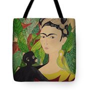 Frida With Monkey And Bird Tote Bag
