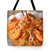 Fried Bread Coated Shrimp And Garnishes On White Serving Plate R Tote Bag