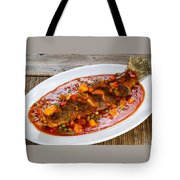 Fried Whole Fish In Sauce With Fruit And Vegetables In White Ser Tote Bag