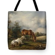 Friedrich Gauermann A Grey And A Chestnut In The Pasture  1825 Tote Bag