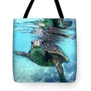 friendly Hawaiian sea turtle  Tote Bag by Sean Davey