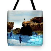 Friends With Dolphins In Colour Tote Bag