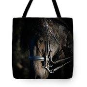 Friesian Horse Portrait Dark Tote Bag
