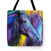 Friesian Horses Painting Tote Bag