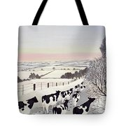 Friesians In Winter Tote Bag