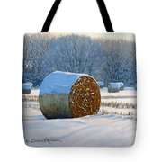Frigid Morning Bales Tote Bag