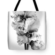 Frilly Edged Cyclamen Flowers Monochrome Tote Bag