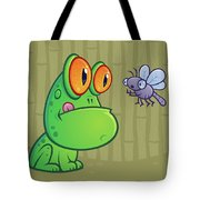Frog And Dragonfly Tote Bag by John Schwegel