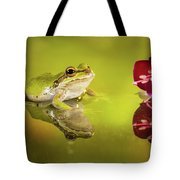 Frog And Fuchsia With Reflections Tote Bag