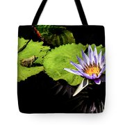 Frog And Lily Reflected Tote Bag