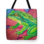 Frog On Flower Tote Bag