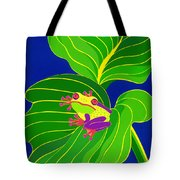 Frog On Leaf Tote Bag