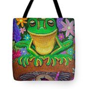 Frog On Mushroom Tote Bag