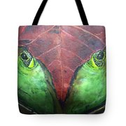Frog With Leaf Tote Bag