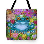 Frogs And Flowers Tote Bag