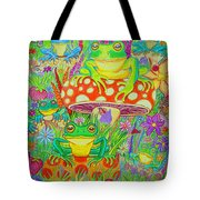 Frogs And Mushrooms Tote Bag