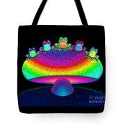 Frogs And Rainbow Mushroom Tote Bag