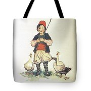 Frolic For Fun Boy And Geese Tote Bag