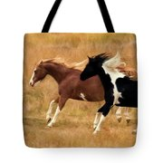 Frolicking Horses Tote Bag