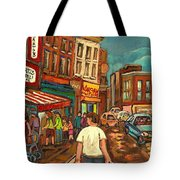 From Schwartz's To Warshaws To The  Main Steakhouse Montreal's Famous Landmarks By Carole Spandau  Tote Bag