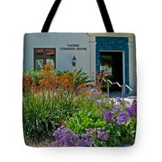 Flowers In Front Of Napier Common Room At Pilgrim Place In Claremont-california Tote Bag