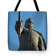 Front View Of King Afonso The Third Statue. Portugal Tote Bag
