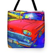 Front View Of Red Retro Car  Tote Bag