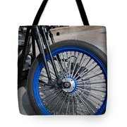 Front Wheel With Blue Rims And Fat Chrome Spokes Of Vintage Styl Tote Bag