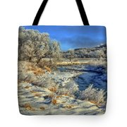 Frost Along The Creek Tote Bag