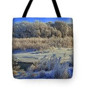 Frost Along The Creek - Panorama Tote Bag