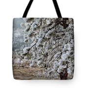 Frost-covered Pine Tote Bag