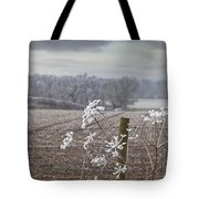 Frost-covered Rural Field Cumbria Tote Bag by John Short