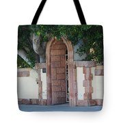 Frosted Almond Garden Wall With Red Brick Entrance Tote Bag