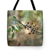 Frosted Red Berries And Green Leaves  Tote Bag