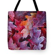 Frosted Red Oak Leaves Tote Bag