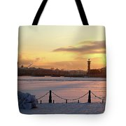 Frosty Evening In The City On The River Tote Bag